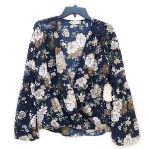 NWT Altar'd State Rock Hill Navy Floral Wrap Top S